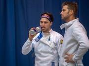 Max Heinzer (links) und Benjamin Steffen treten im WM-Teamwettbewerb der Degenfechter mit der Schweiz als Titelverteidiger an (Bild: KEYSTONE/MARCEL BIERI)