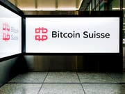 The logo of Bitcoin Suisse at Zurich Airport in Kloten, Switzerland, on May 1, 2019. (KEYSTONE/Petra Orosz) (Bild: KEYSTONE/PETRA OROSZ)