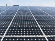 Schweizweit wurde im vergangenen Jahr eine Fläche von 1,7 Millionen Quadratmeter mit Solarmodulen bedeckt. Auf Industrie- und Gewerbebauten hingegen stagnierte der Bau von neuen Fotovoltaikanlagen. (Bild: Keystone/CHRISTIAN BEUTLER)