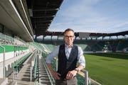 Matthias Hüppi, ehemaliger Sportjournalist bei SRF, ist neuer Präsident vom FC St. Gallen. (Bild: Alex Spichale)