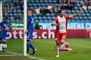 Jubelt wieder für den FC Thun: Simone Rapp. (Martin Meienberger/Freshfocus (Luzern, 10. September 2017)