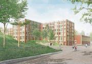 So soll die neue Kantonsschule Ausserschwyz (KSA) dereinst aussehen. (Visualisierung: PD)