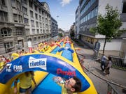 The 200-meter water slide visited St.Gallen two years ago. (Photo: Hanspeter Schiess - July 22, 2017)