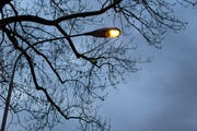This is how it is known: a street lamp is burning in the twilight. In St.Gallen they did it in the daylight on Thursday morning. (Image: Gaetan Bally / Keystone)