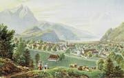 Ansicht von Gabriel Lory junior (1784 bis 1846) von Stans vor 1798. Sie dürfte allerdings einige Jahre nach dem Franzosenüberfall – etwa um 1814 – entstanden sein. Bild: Provinzarchiv Schweizer Kapuziner Ikonothek