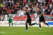 Petar Misic jubelt nach dem Tor zum 1:0 für den FC Aarau. (Bild: Daniela Frutiger/freshfocus, Aarau, 27. Juli 2019)