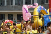 He just launched an inflatable flamingo.