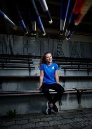 Die Zuger Stabhochspringerin Ronja Wengi schafft in Baku die Höhe von 3,60 Meter. Bild: Stefan Kaiser (Zug, 15. Juli 2019)