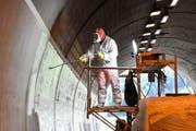 Gut geschützt bringt ein Arbeiter die Spezialfarbe an den Wänden im Aeulitunnel auf. Die helle Farbe reflektiert das Licht und macht so den Tunnel heller. (Bild: Urs M. Hemm)