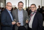 Rennen um das Bottighofer Gemeindepräsidium: Matthias Hofmann (der spätere Wahlsieger), Beat Müller und Michael Thurau am 25. November 2018. (Bild: Reto Martin)