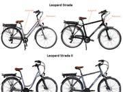 Bei E-Bike-Modellen «Leopard Strada» und «Leopard Strada II» können sich Schrauben am Velolenker lösen. Deshalb tauscht Coop Bau+Hobby die entsprechenden Lenkvorrichtungen beim Kunden zu Hause aus. (Bild: Handout)