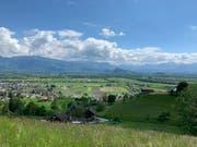 Blickt man oberhalb von Marbach über das Rheintal, breitet sich ein Heimatgefühl aus. (Bild: Monika von der Linden)