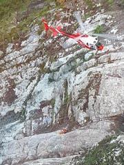 Die Arbeiten oberhalb der Axenstrasse sind vom Helikopter aus möglich. (Bild: Astra)
