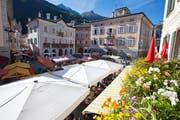 Am Markttag treffen sich die Einwohner von Poschiavo in dessen schmucken Dorfkern. Bild: Roberto Moiola