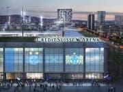 Die Grossbank Credit Suisse hat sich die Namensrechte für das geplante Fussball-Stadion auf dem Hardturm-Areal für zehn Jahre gesichert. FCZ und GC sollen in der «Credit Suisse Arena» spielen. (Bild: Visualisierung: PD)