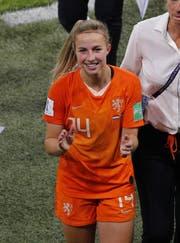 Die Niederländerin Jackie Groenen feiert den Finaleinzug an der WM in Frankreich. (Bild: Francois Mori/AP, Lyon, 3. Juli 2019)