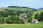 Im Vordergrund der Weiler Tannen mit dem Wohnhaus von Sepp und Margrit Rutz (rechts). Im Hintergrund die Häusergruppe des Weilers Rupperswil. Die Erhebung links hinten ist der Hüsligs. (Bild: Beat Lanzendorfer)