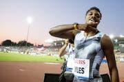 Noah Lyles läuft bei Athletissima in Lausanne 19,50 Sekunden über 200 m. (KEYSTONE/Valentin Flauraud)