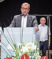 «Atmosphärische Störung» nannte Bundesrat Ueli Maurer (hinten) später, was Landammann Alfred Bossard am Freitag kritisierte: die Uneinigkeit in Bern in Sachen Pilatus. (Bild: Christian H. Hildebrand, Stans, 4. Juli 2019)