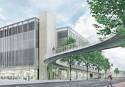 Als «Eingangstor zur Stadt» preist die V-Zug den zweiten Bau des Technologieclusters Zug an. Visualisierung: PD