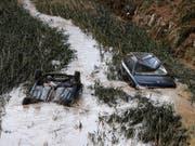 In der nordspanischen Region Navarra haben Überschwemmungen schere Schäden angerichtet. In der Gemeinde Tafalla trat der Fluss Cidacos über die Ufer. (Bild: KEYSTONE/EPA EFE/JESUS DIGES)