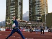 Thomas Röhler nimmt in Luzern Anlauf für seinen Wurf zum Sieg (Bild: KEYSTONE/ALEXANDRA WEY)