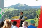 Historiker Christian Leitz hielt an der Ebnat-Kappler Bundesfeier die Festansprache. (Bild: Michael Hug)