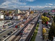 Luftaufnahme des Bahnhofs in Sursee. (Bild: Pius Amrein, Sursee, 6. November 2018)