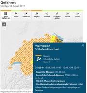 Gewitterwarnung für die Region St.Gallen-Rorschach für Montag, 10 bis 22 Uhr, bei Meteo Schweiz. (Bild: PD)