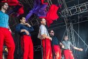 Rot ist Trumpf: Der vielbejubelte Auftritt von Kunz. (Bild: Dominik Wunderli, Zofingen 11. August 2019)