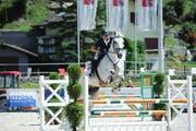 Nebst dem Sieg über 115 cm mit Kisha sichert sich Kurt Reinhard mit Dadiola (Bild) auch noch den zweiten Platz über 110 Zentimeter. Bild: Sonja Grob (Schüpfheim, 11. August 2019)