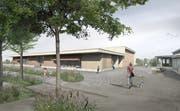 Visualisierung der neuen Tobler Mehrzweckhalle. Von ihrem Dach fliesst dereinst Solarstrom. (Bild: ZVG)