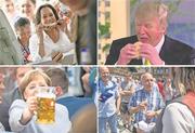 Politiker aus allen Ländern geben sich gern volksnah (von Links oben: Kamala Harris, Donald Trump, Angela Merkel und Ueli Maurer). Bilder: EPA, Key