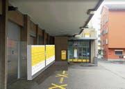 Die Post möchte den Automaten bei der bestehenden Filiale an der Dorfstrasse anbringen. (Visualisierung: PD)