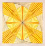 Werk Nr.13: Mit dem Pendel markierte Emma Kunz Punkte auf Millimeterpapier, die sie mit Bleistift, Farbstift und Ölkreide verband. (Bild: Emma Kunz Zentrum)