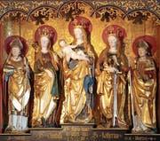 Die einzige bekannte plastische Darstellung der heiligen Cutubilla (2. von links) befindet sich im ehemaligen Prämonstratenserkloster Adelberg in Baden-Württemberg. (Bild: Andreas Faessler, 11. August 2019)