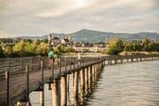 Der Seedamm im Zürichsee verbindet Rapperswil im Kanton St.Gallen mit Pfäffikon im Kanton Schwyz. (Bild: swiss-image.ch/Andre Meier)