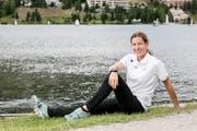 Nicola Spirig entspannt zwischen zwei Trainings am St. Moritzer See. (Bild: Sandra Ardizzone, 29. Juli 2019)