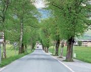 Die Grossteilerstrasse in Giswil, fotografiert von der Lauibrücke in Richtung Schulanlagen. (Bild: PD)