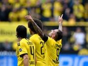 Paco Alcacer (9) traf zum Saisonauftakt mit Dortmund zweimal (Bild: KEYSTONE/AP/MARTIN MEISSNER)