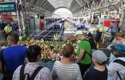 Passanten stehen im Frankfurter Hauptbahnhof vor den Blumen und Stofftieren, die an den getöteten Achtjährigen erinnern. (Bild: Keystone/dpa/Arne Dedert)