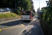 Die Haltestelle Berneggstrasse. Hier ereignete sich Ende Juni 2018 der Zwischenfall mit einem Stadtbus, der am 4. September vor Kreisgericht verhandelt wird. (Bild: David Gadze - 26. Juli 2018)