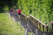 Die vielen Treppen der Stadt werden auch von Sportlerinnen und Sportlern gerne genutzt. Im Bild die Gesstreppe am Dreilindenhang. (Bild Ralph Ribi - 18. Juli 2019)