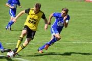 Pirmin Baumann (links), 1:0-Torschütze gegen Littau, setzt sich im Zweikampf gegen Patrice Gilli durch. (Bild: Ronny Arnold, Altdorf, 18. August 2019)