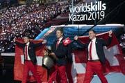 Die Eröffnungsfeier der Berufs-WM in Kazan am vergangenen am Donnerstag, 22. August, lies nichts zu wünschen übrig. Nun muss sich die Schweizer Delegation jedoch im Wettkampf beweisen. (Bild: Michael Zanghellini/SwissSkills)