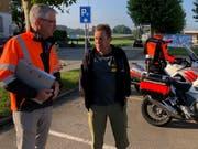 Ernst Brüschweiler im Gespräch mit Markus Stamm vom kantonalen Tiefbauamt.