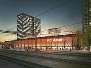 So soll es aussehen: Das neue Fussballstadion in Aarau mit insgesamt vier Hochhäusern. Das letzte Wort spricht das Volk im November. (Bild: Handout Stadt Aarau)