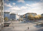 So sollen Marktplatz und Bohl nach der Neugestaltung aussehen. (Illustration: Stadtplanung der Stadt St.Gallen - 25. Januar 2019)