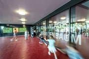 Das Schulhaus Mattli in Kastanienbaum wurde saniert und erweitert. Im Bild zu sehen ist der neue Eingangsbereich. (Bild: Pius Amrein, 26. August 2019)
