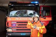 War schon als Kind Feuer und Flamme für die Feuerwehr: Raphael Rohner. Heute ist er bei der St.Galler Milizfeuerwehr. (Bild: Urs Bucher)